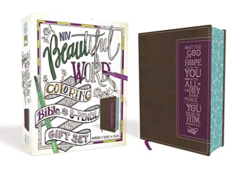 Holy Bible: New International Version, Beautiful Word Coloring Bible and 8-pencil Gift Set, Brown, Leathersoft, Hundreds of Verses to Color