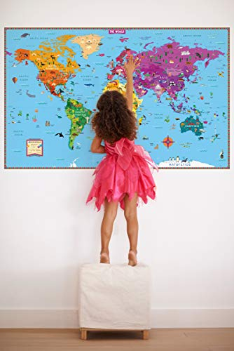 Kids' Illustrated World Map: 50 X 32 Ready to Display