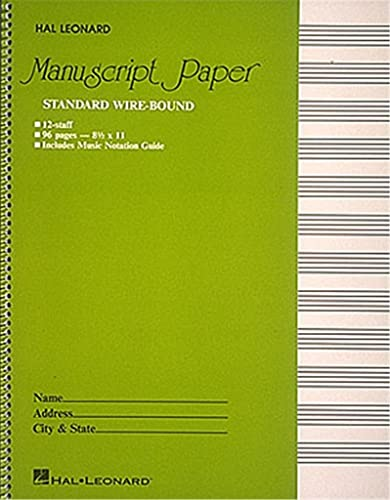 Standard Wire Bound Manuscript Paper: Green Cover