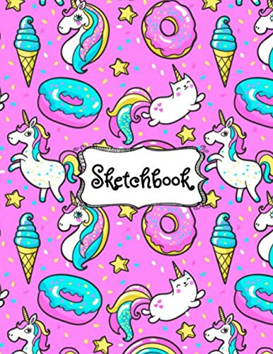 Sketchbook: Cute Unicorn Kawaii Sketchbook for Girls: 100+ Pages of 8.5x11 Blank Paper for Drawing, Doodling or Sketching