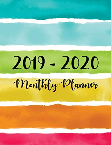 2019-2020 Monthly Planner: Two Year - Monthly Calendar Planner | 24 Months Jan 2019 to Dec 2020 For Academic Agenda Schedule Organizer Logbook and ... Planners | Colorful Watercolor Line Cover