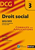 DCG 3 - Droit social - Corrig� des applications - Nathan 2012/2013