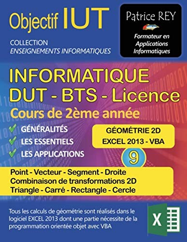 IUT Informatique DUT BTS Licence : Tome 9, Géométrie 2D, Point, Vecteur, Segment, Droite, Transformations 2D, Triangle, Carré, Rectangle, Cercle par
